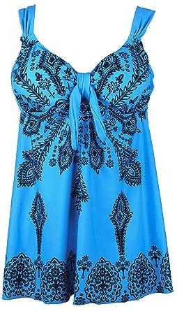 6e530dd901a23 QZUnique Women's Plus-Size Swimsuit Retro Print Two Piece Pin up Tankini  Swimwear SkyBlue US