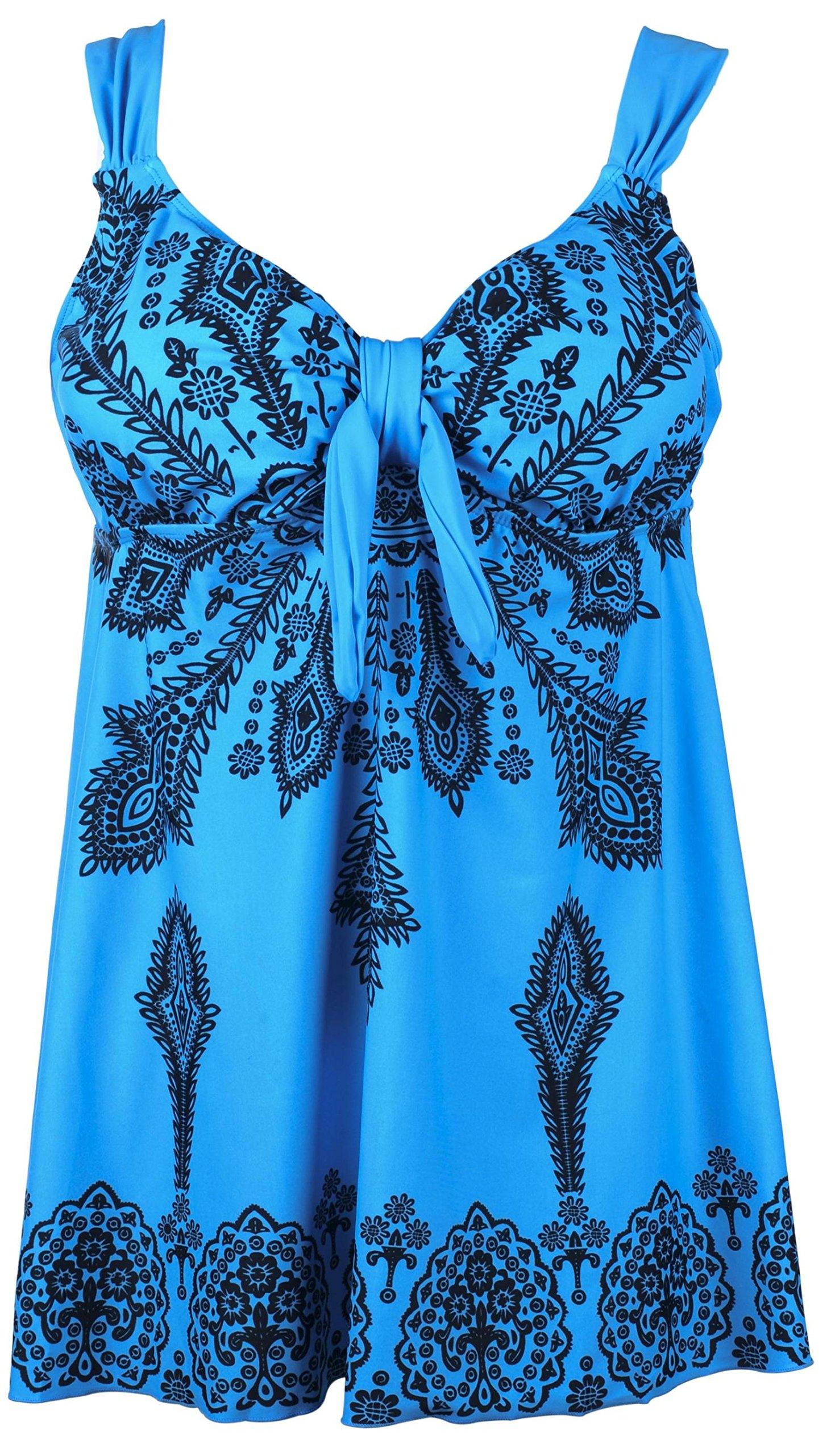 QZUnique Women's Plus-Size Swimsuit Retro Print Two Piece Pin up Tankini Swimwear SkyBlue US 20W