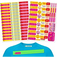 INDIGOS UG® Pegatinas de nombre - Set - 160 piezas - Rainbow - 80 etiquetas para planchar + 80 sticker - escuela y…