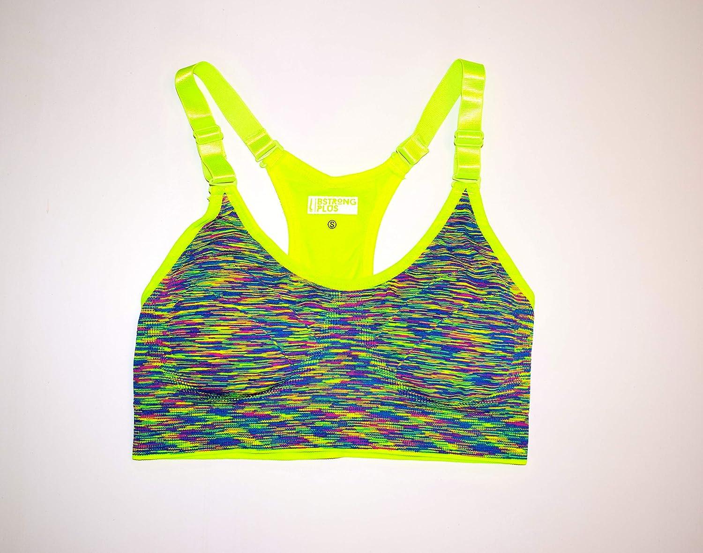 Womens Ladies Yellow Padded Sports Bra Seamless Yoga Gym Fitness Top Running