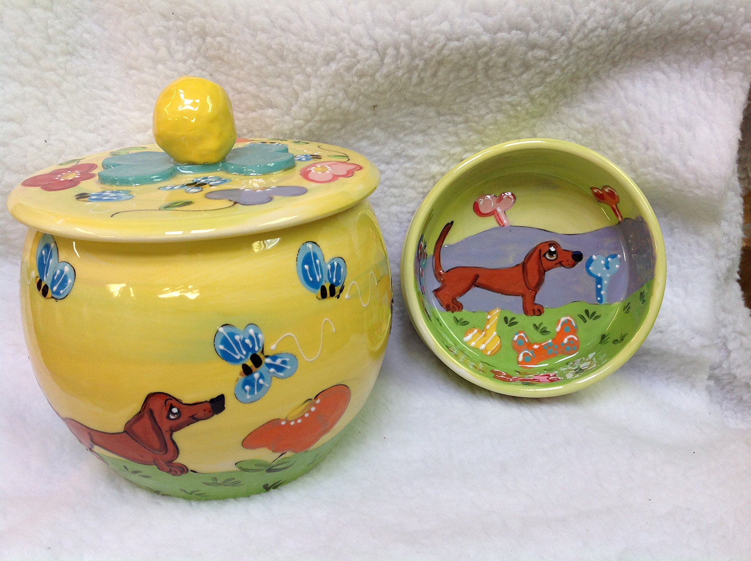 Dachshund 6'' Pet Bowl for Food or Water and Treat Jar. Personalized at no Charge. Signed by Artist, Debby Carman.