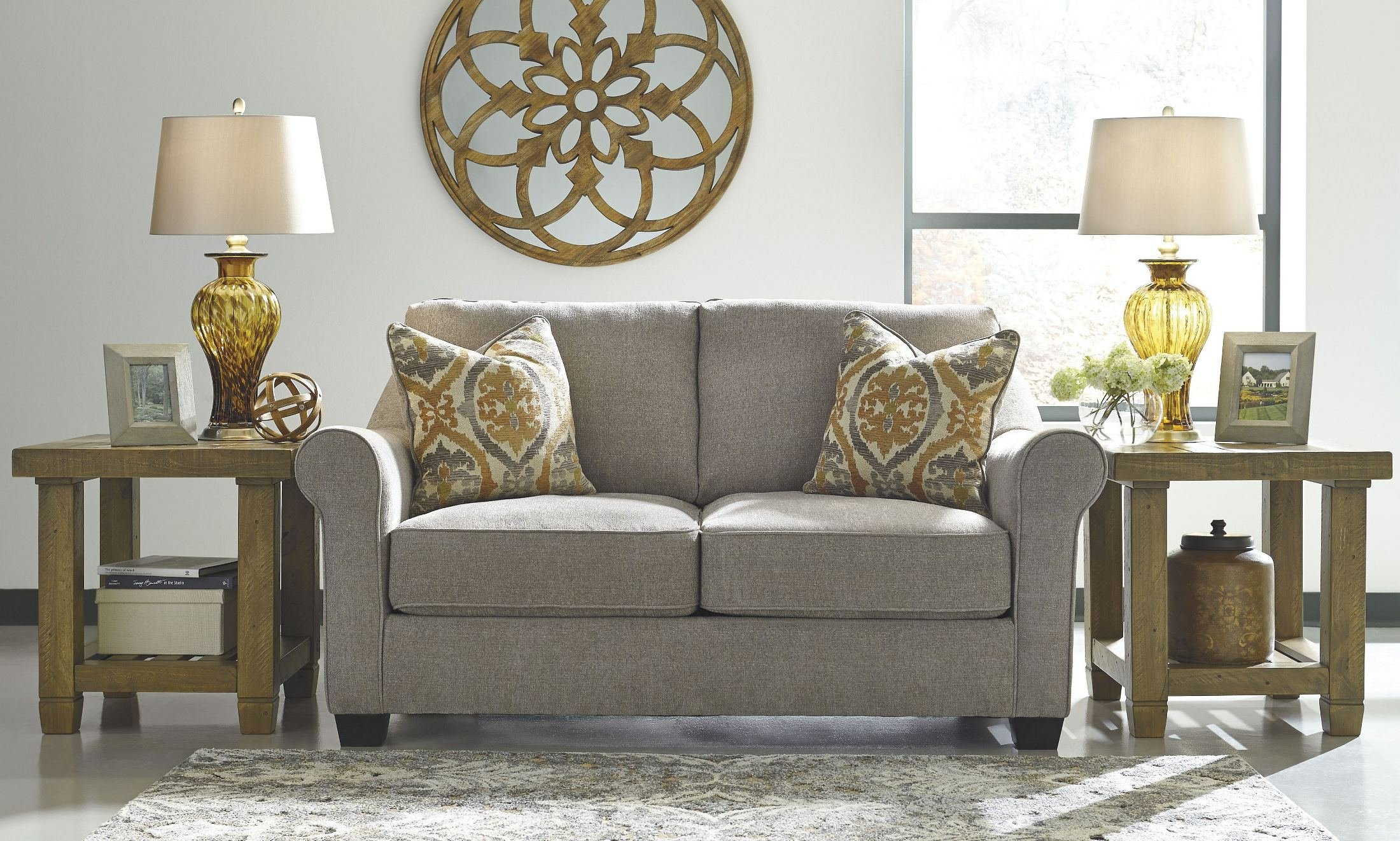 Benchcraft Leola 5360135 69'' Fabric Loveseat with Rolled Arms Pillows Included and Reversible UltraPlush Cushions in by Benchcraft (Image #1)