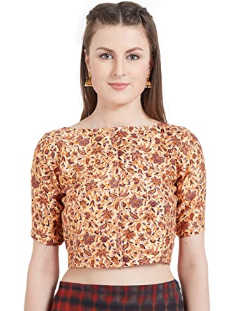 9cb8695e42994b Amazon.com: Women's Art Silk Printed High Neck design Readymade Blouse  Partywear Saree Choli Mirchi Fashion Top: Clothing
