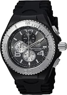 Technomarine Mens Cruise Stainless Steel Quartz Watch with Silicone Strap, Black, 5.7 (Model