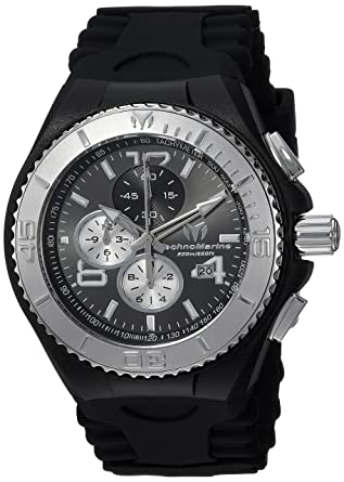Technomarine Mens Cruise Quartz Stainless Steel and Silicone Casual Watch, Color:Black