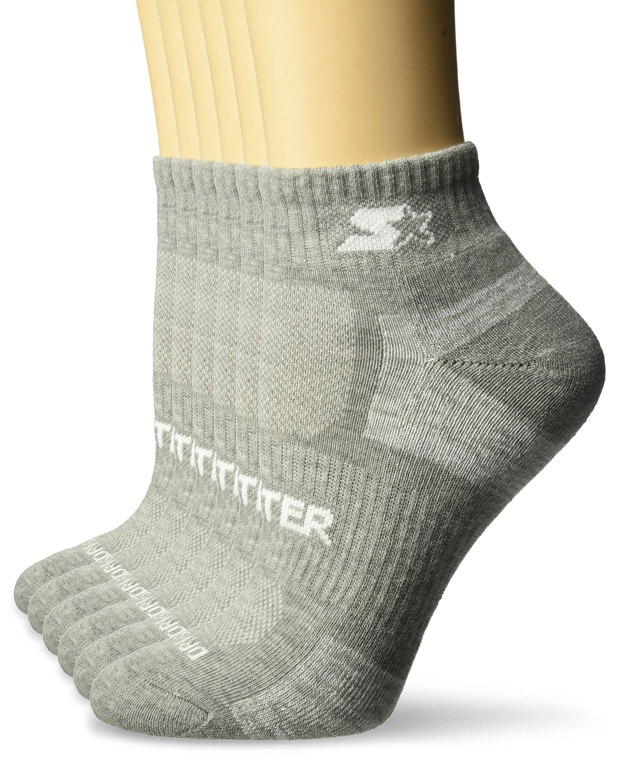 Starter Women's 6-Pack Quarter-Length Athletic Socks, Prime Exclusive, Vapor Grey Heather, Medium (Shoe Size 5-9.5)
