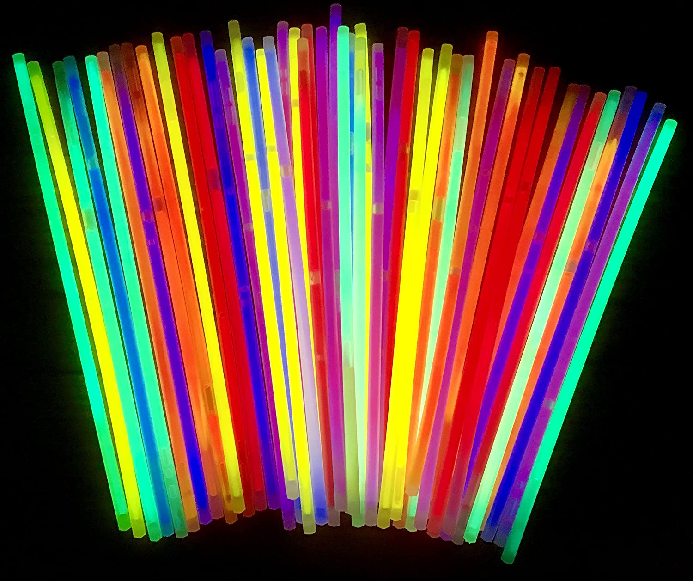 molinoRC 50 bastoncini luminosi, bracciali, Glowstick, luci per feste, neon, rosso, giallo, verde, rosa, arancione, blu, luci di alta qualità, marca tedesca Expressversand BRD
