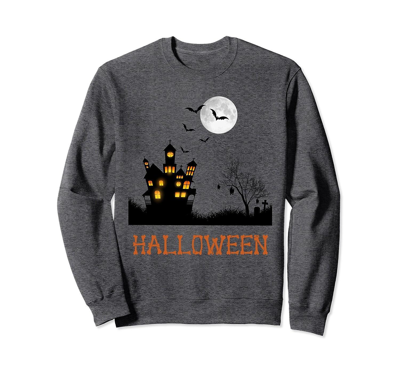 Cool Graphic Design Haunted House Halloween Sweatshirt-mt