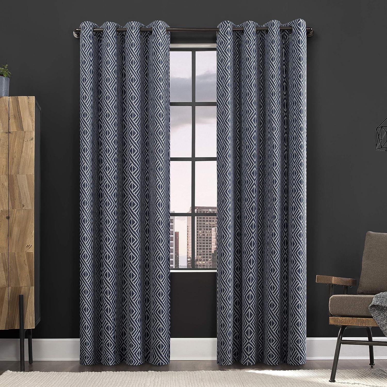 "Scott Living Gresham Geometric 100% Blackout Grommet Curtain Panel, 52"" x 96"", Blue"