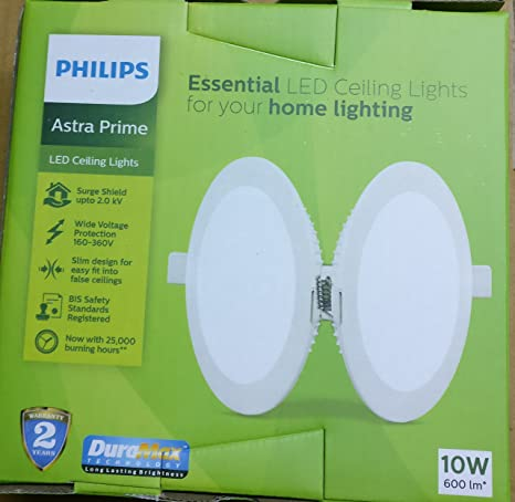 Philips Astraprime 10 Watt Recessed Led Panel Ceiling Light Cool Day Light Round
