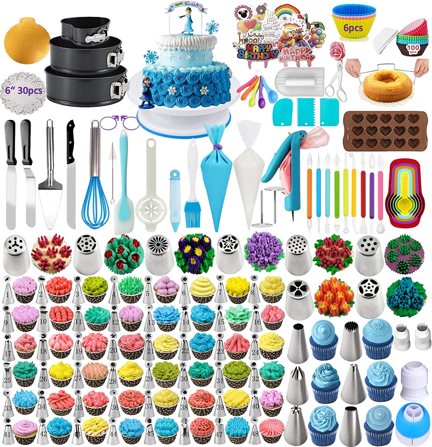 398PCS Baking Set with Springform Cake Pans Set Cake Decorating Supplies 2021Upgrade Cake Rotating Turntable,Cake Decorating Kits, Muffin Cup Mold, Cake Baking Supplies for Beginners and Cake Lovers
