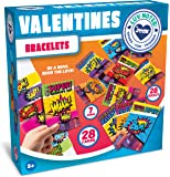 JOYIN 28 Pack Valentines Day Gift Cards With Gift Superhero Quote & Saying Rubber Slap Bracelets for Kids, Valentine's…