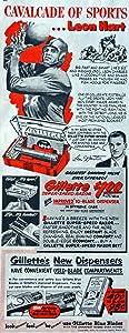 "Gillette Razor and Blades, 50's Print Advertisment. Color Illustration 5 1/2"" X 13"" Print Art. (Leon Hart, football)Oringial Vintage 1950 Collier's Magazine Historic Art ***Store Link [www.amazon.com/shops/ads-thru-time]"