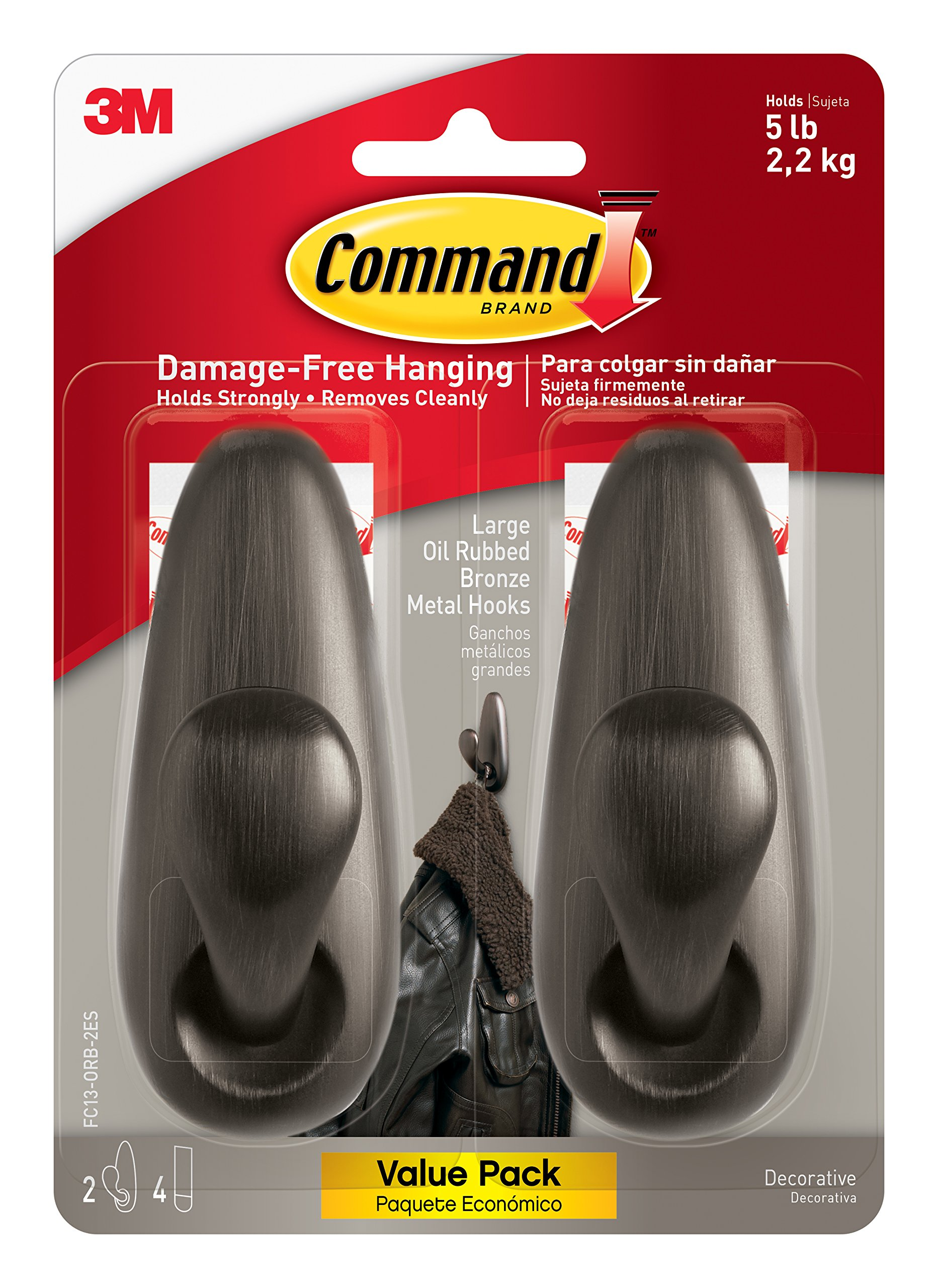 Command Forever Classic Metal Hook, Large, Oil Rubbed Bronze, 2-Hooks (FC13-ORB-2ES)