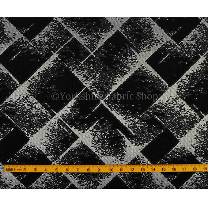 Yorkshire Fabric Shop Exclusiva tela negro Color de Plata ...