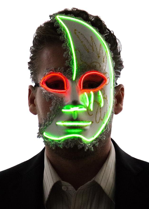 Máscara de media cara valenciana con luz led verde