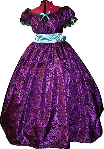 Victorian Dresses | Victorian Ballgowns | Victorian Clothing Flocked Velvet Taffeta Civil War Reenactment Ladies Plus or Junior Ball Gown 10 12 14 16 18 20 22 24 Red Blue Pink Burgundy Wine Teal Purple $94.00 AT vintagedancer.com