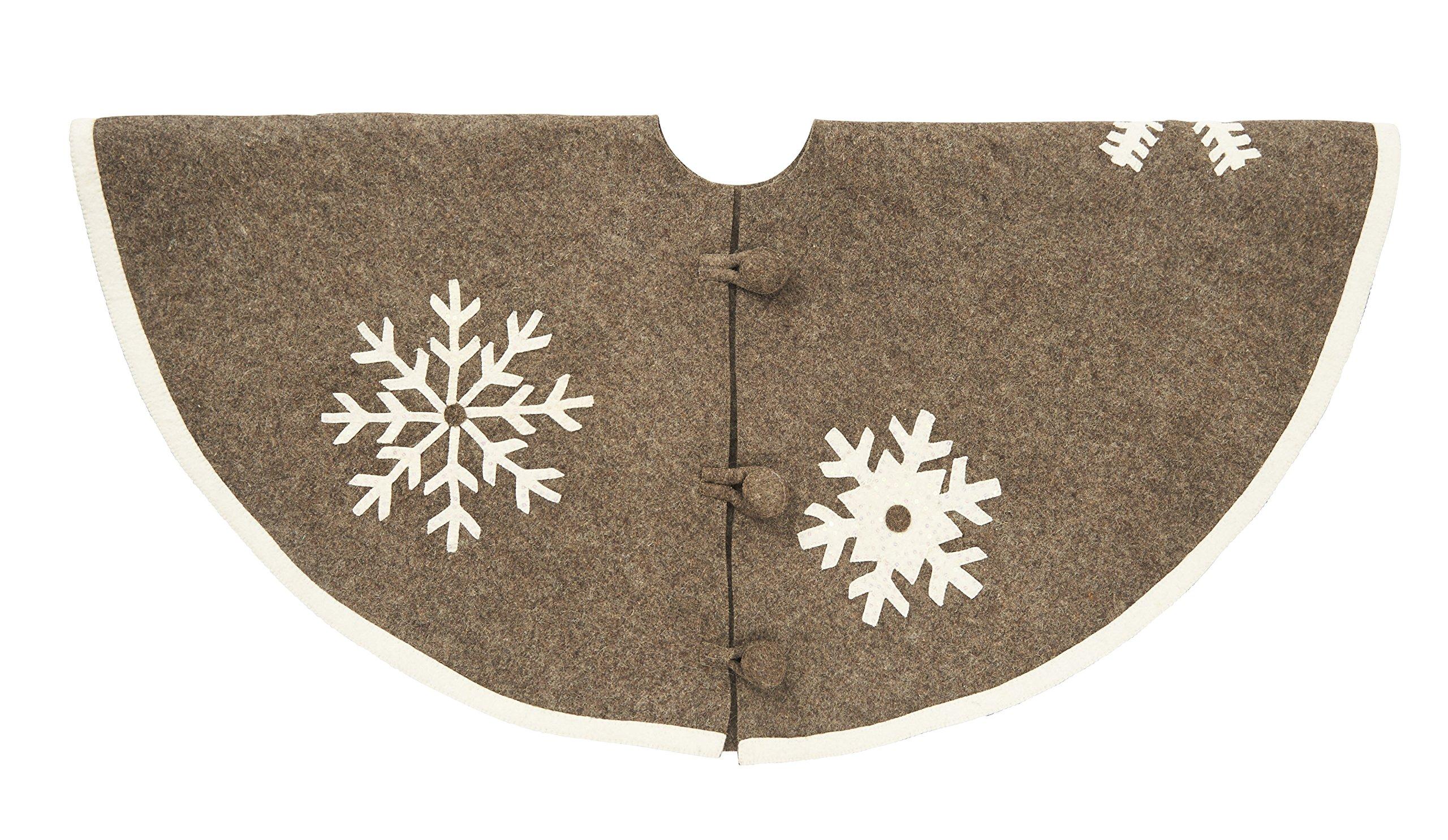 Arcadia Home TF501 Snowflake Christmas Tree Skirt with Sequins , Grey