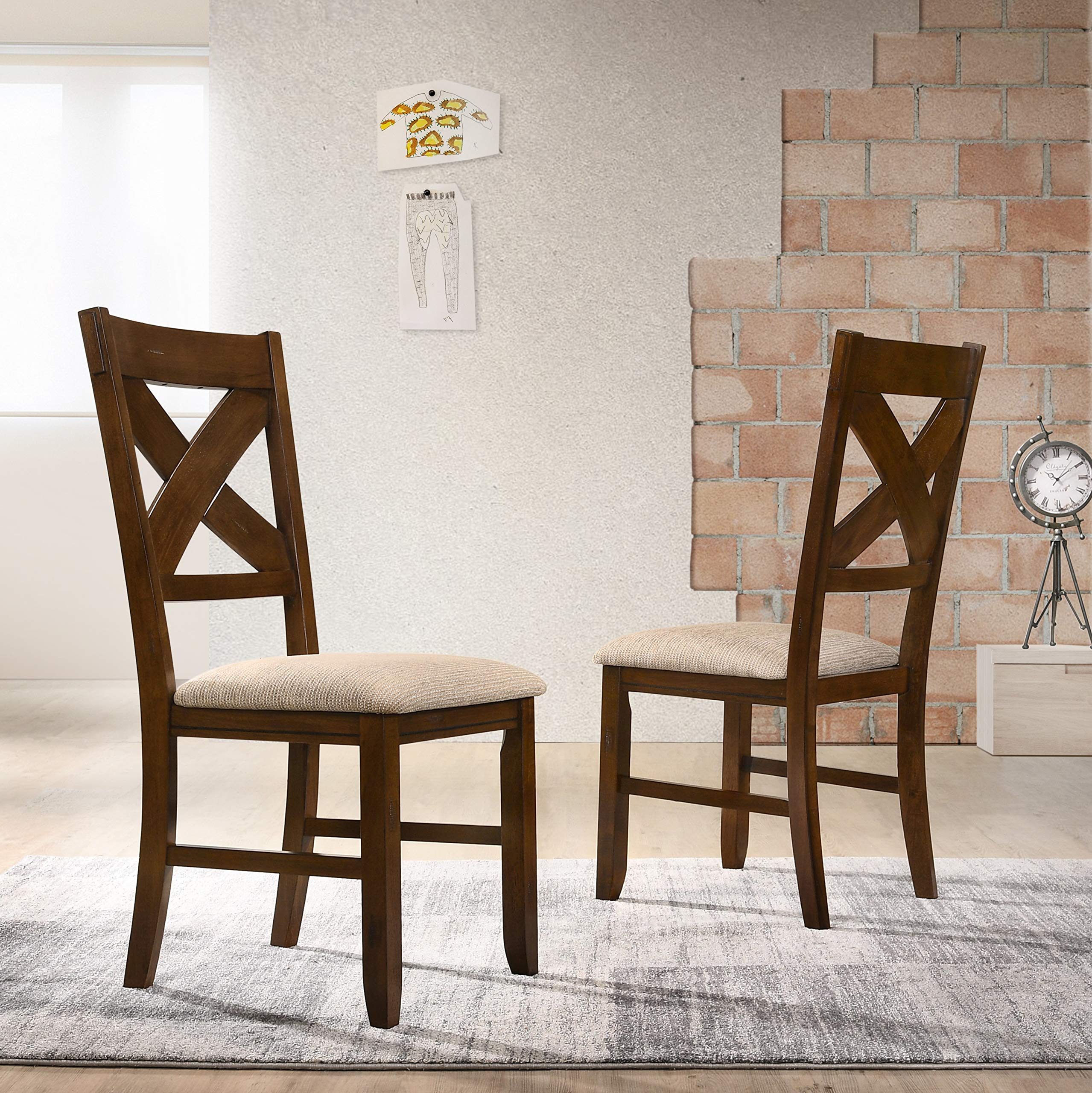 Roundhill Furniture Karven 9-Piece Solid Wood Dining Set with Table and 8 Chairs by Roundhill Furniture (Image #8)