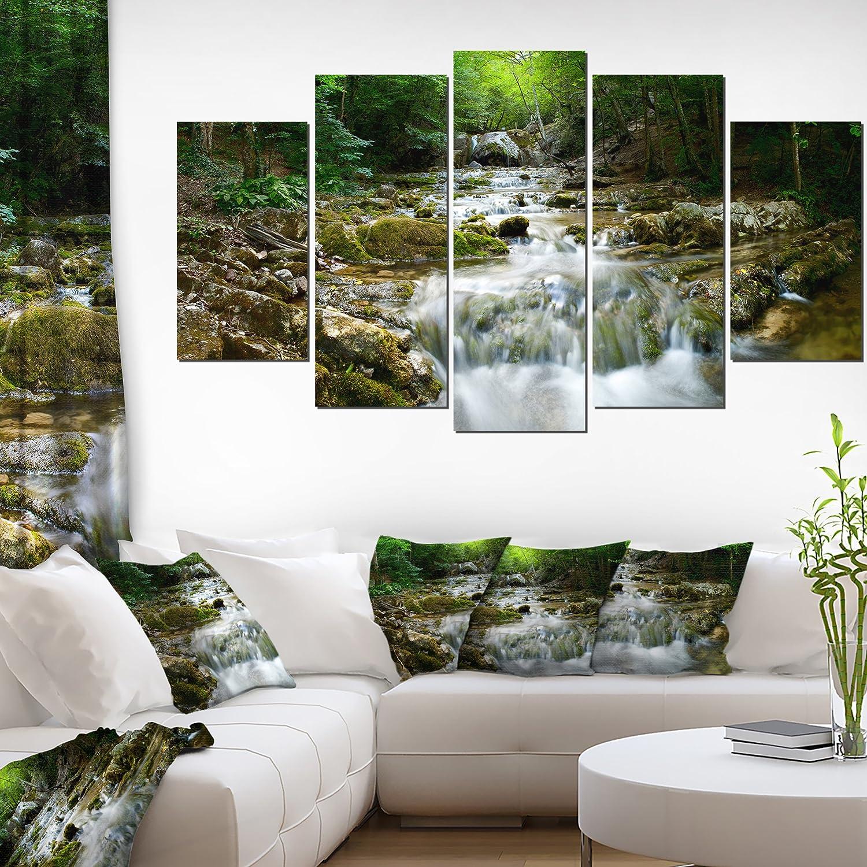 Designart PT8163-20-12 Natural Spring Waterfall Landscape Photo Canvas Print 12 H x 20 W x 1 D 1P Green Design Art