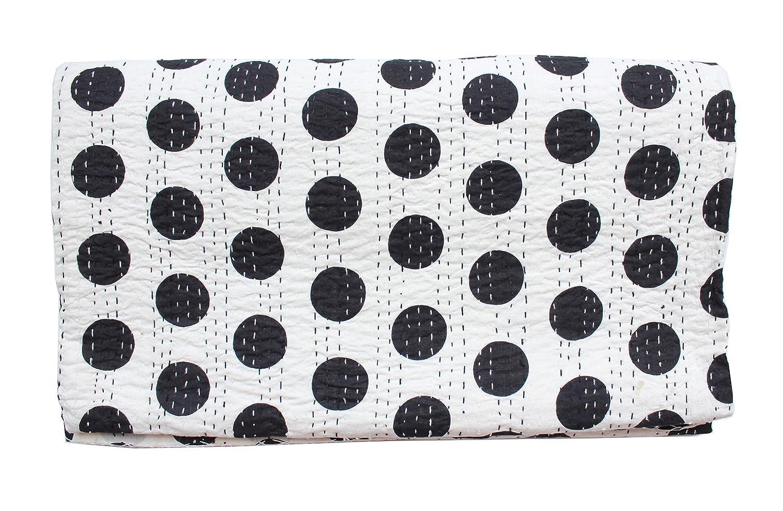 Queen Kantha Quilt, Kantha Bedspread Blanket, Kantha Throw, Queen Quilt Bedspread Bedding, Queen Black Polka Quilt, Indian Sari Quilt Bed Cover Bedding Ethnic Decor