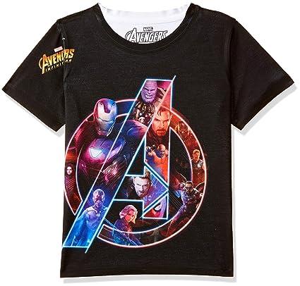 Marvel Avengers Boys Polyester Round Neck Short Sleeves Tshirt - Black (DMA0036) Boys' T-Shirts at amazon