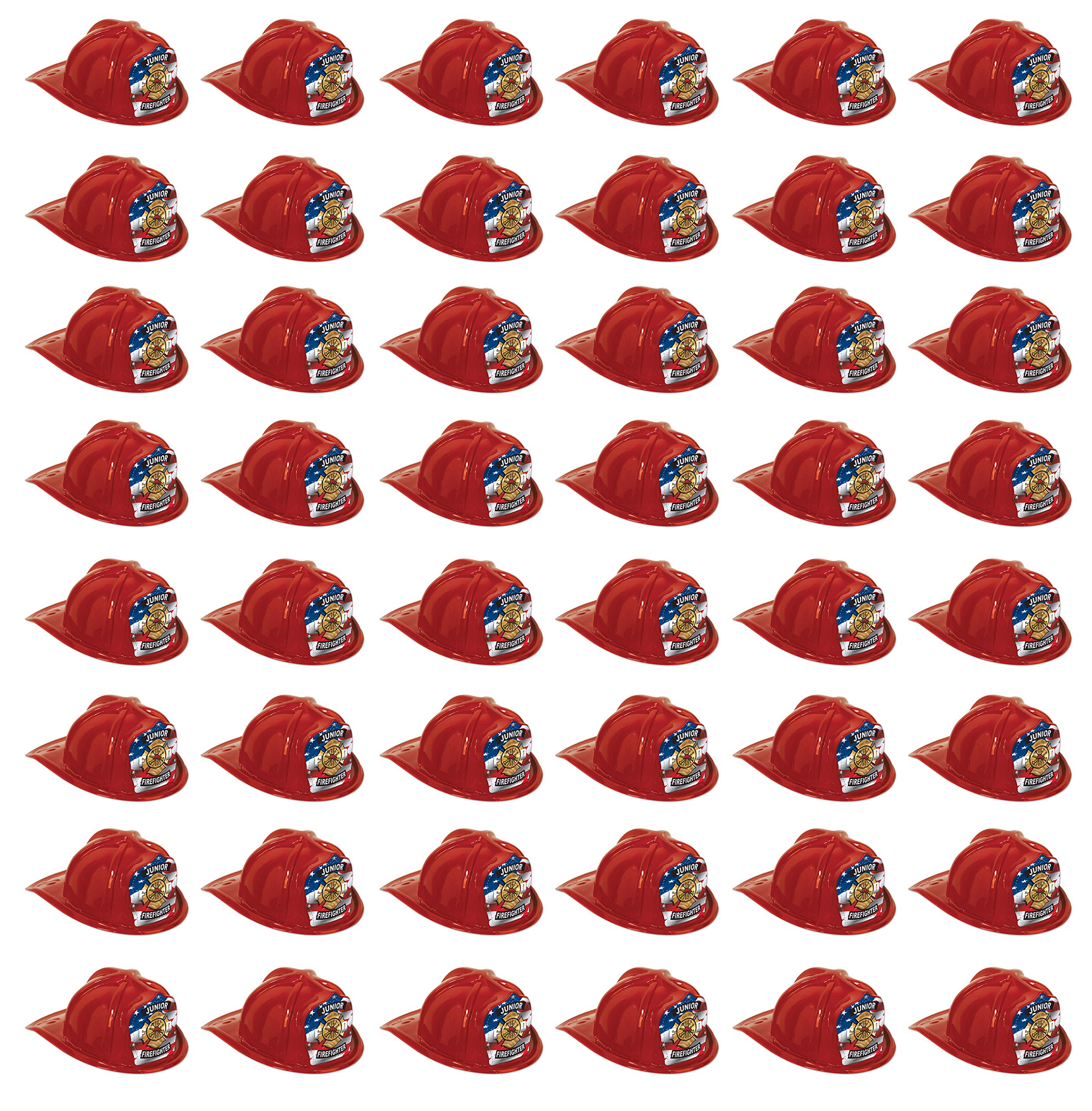 Beistle 66777-1 48-Pack Plastic Junior Firefighter Hats, Red