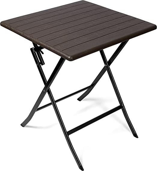 Vanage - Table d\'appoint - Table de Jardin carrée avec Effets bois -  Structure en acier - Pliable et ultra compacte - Parfait pour Jardin,  Terrasse et ...