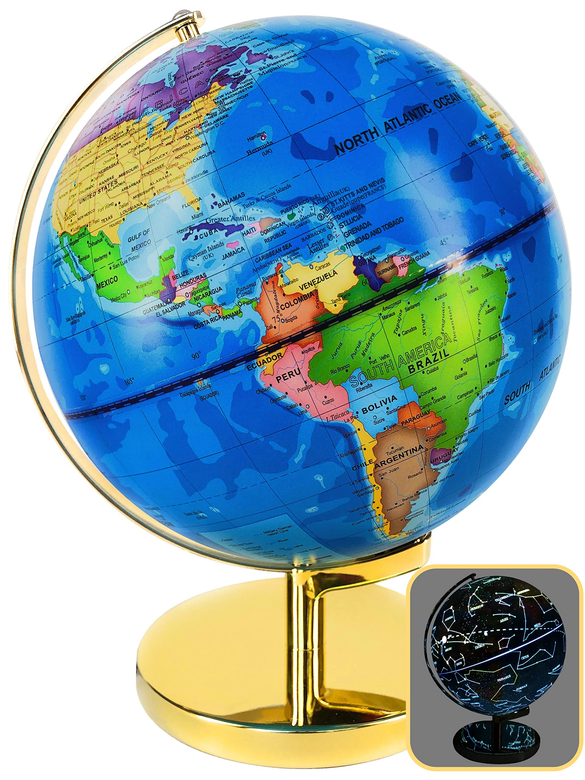World Globe 3 in 1 - LED Night Light Globe - Illuminated Constellation - 9'' Diameter - Room Decor with Golden Stand - Educational Toy - Gift for Boys & Girls 6 7 8 & up - Globe for Kids/Adults