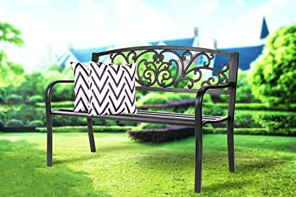 Awesome Patio Bench Front Porch Metal Bench Comfortable Outdoor Furniture Iron Black Classic Bench For Garden Park Back Yard Path Evergreenethics Interior Chair Design Evergreenethicsorg