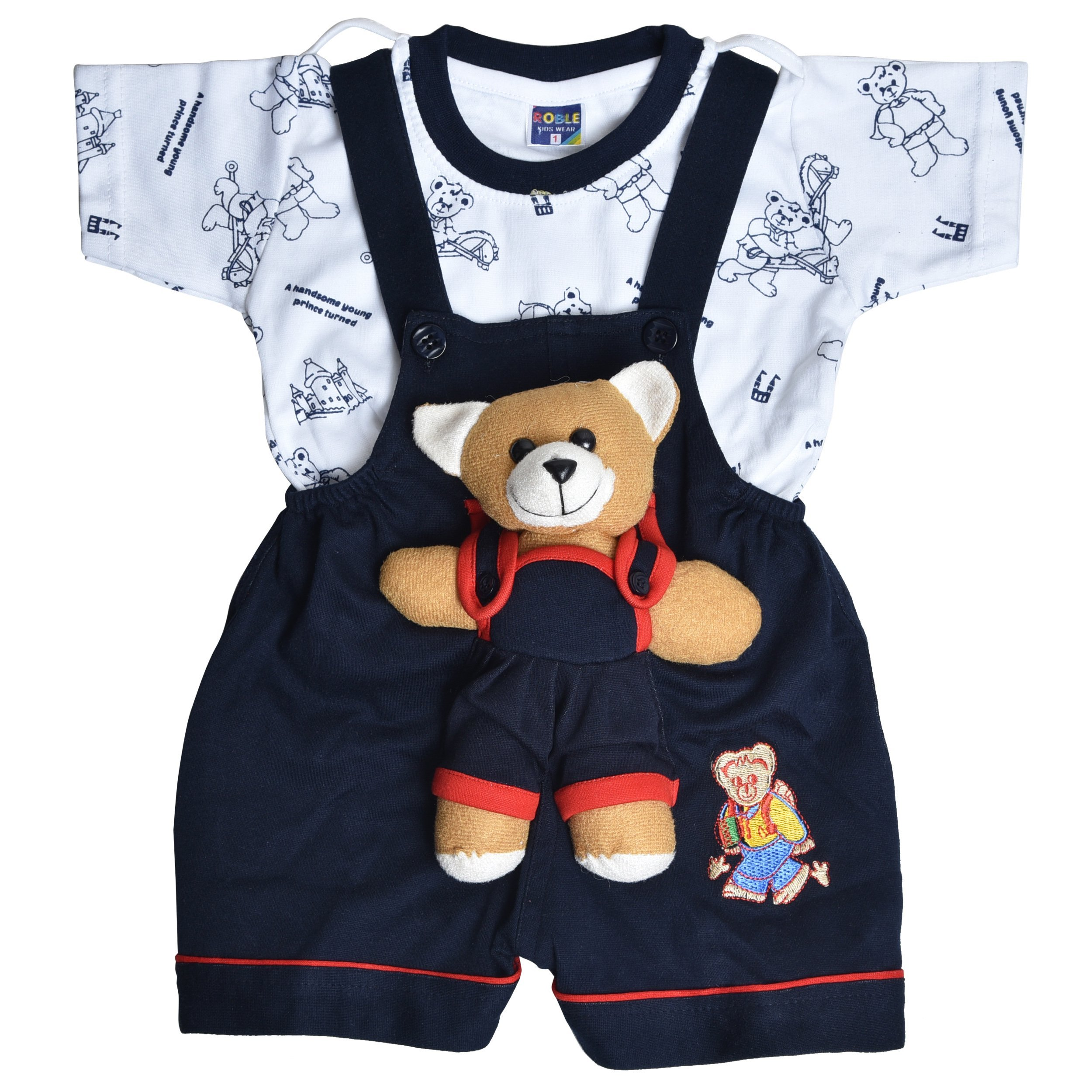 Roble Party Wear Romper Baba Suit Dungree Jumpsuit Blue Outfits For Newbron Babies Boys & Girls 6 Months -2 Years product image