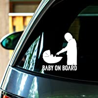 TQC Baby On Board Baby Yoda Vinyl Decal Sticker//Car Window Decal//Laptop Sticker 5 X 4.6 INCHES White