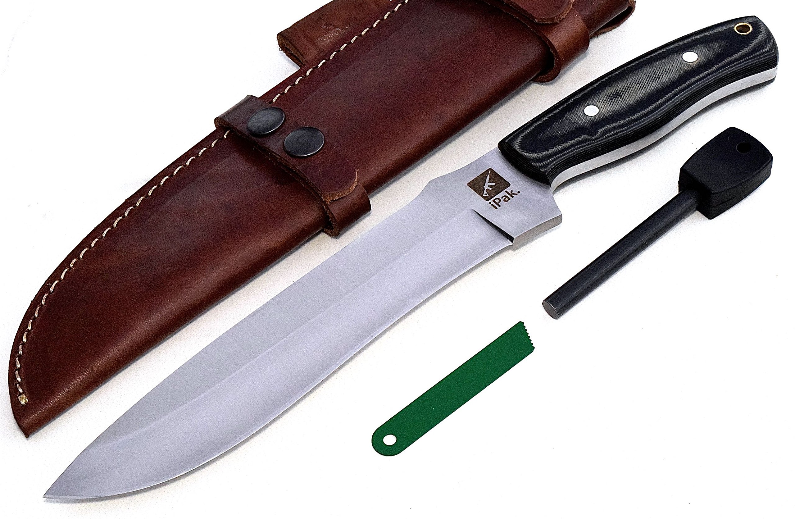 CFK USA IPAK Custom Handmade D2 Tool Steel Micarta Large Bowie Camping Hunting Bushcraft Hunter Knife with Horizontal Leather Sheath & Fire Starter Set CFK177