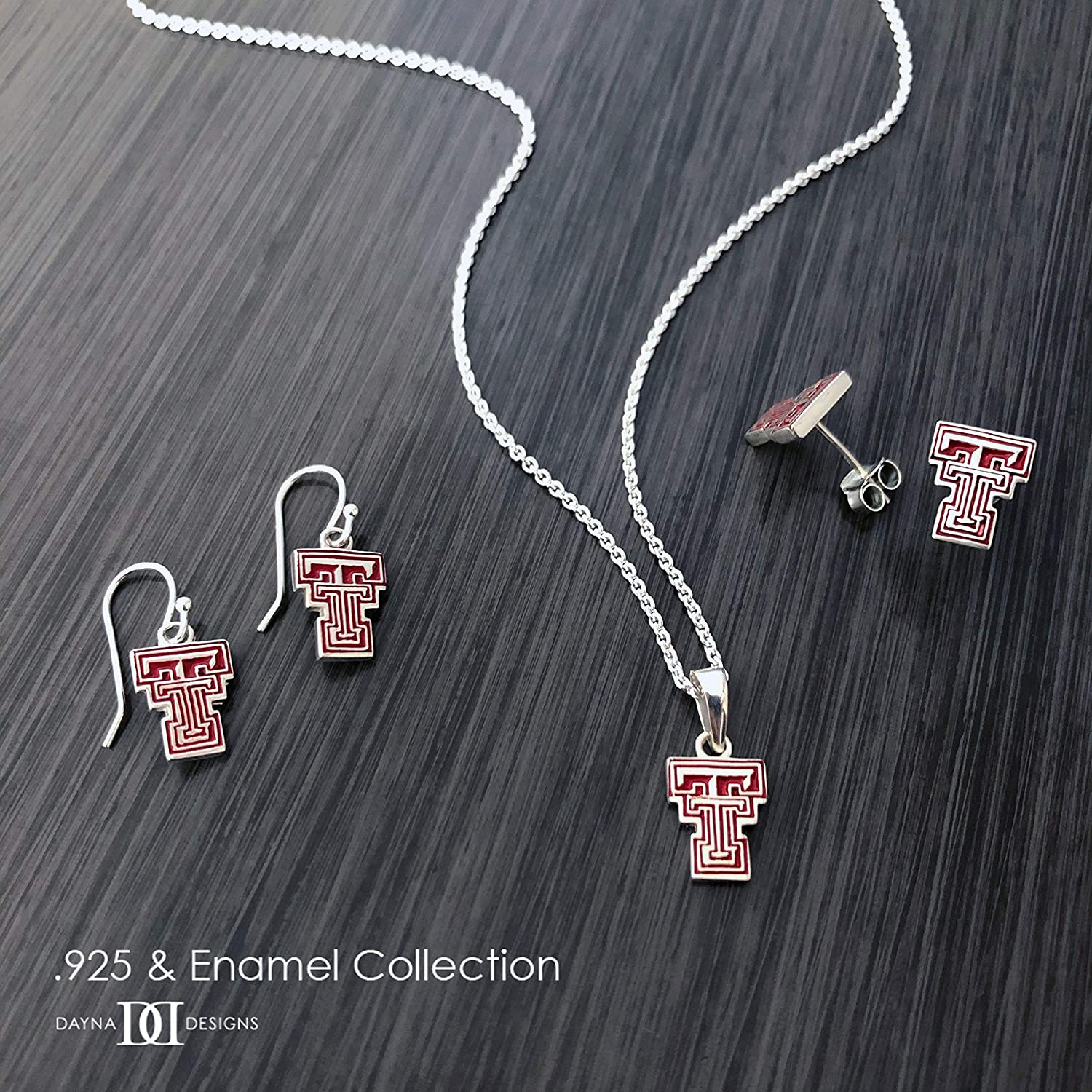 Red Raiders TT Logo Enamel Dayna Designs Texas Tech University Dangle Earrings Sterling Silver Jewelry Small for Women//Girls