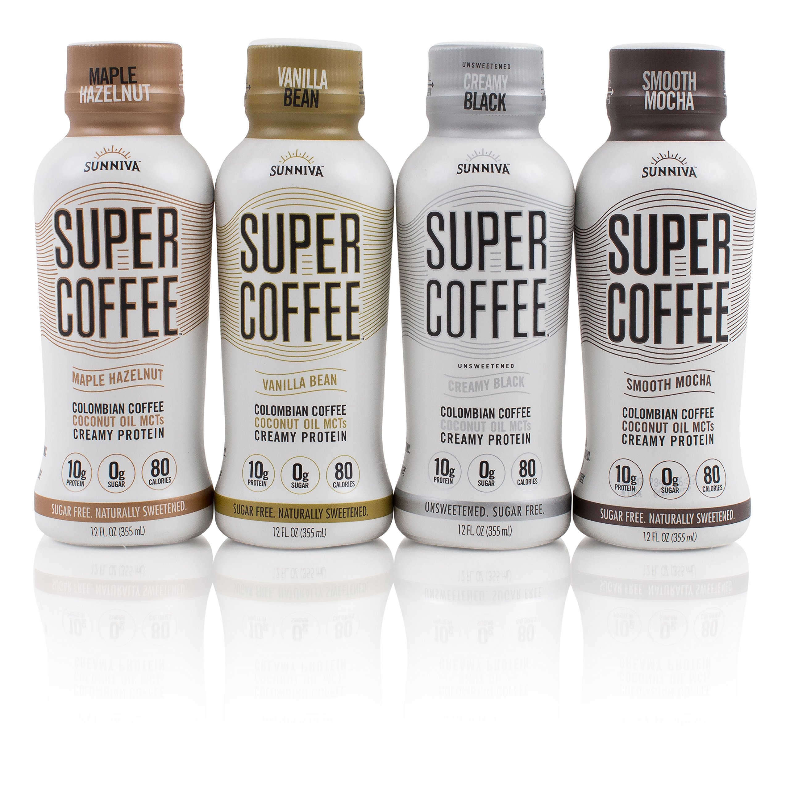 SUNNIVA Super Coffee 4 Variety Pack NEW Sugar-Free Formula, 10g Protein, Lactose Free, Soy Free, Gluten Free (1 each of Vanilla Bean, Smooth Mocha, Maple Hazelnut, and Creamy Black)