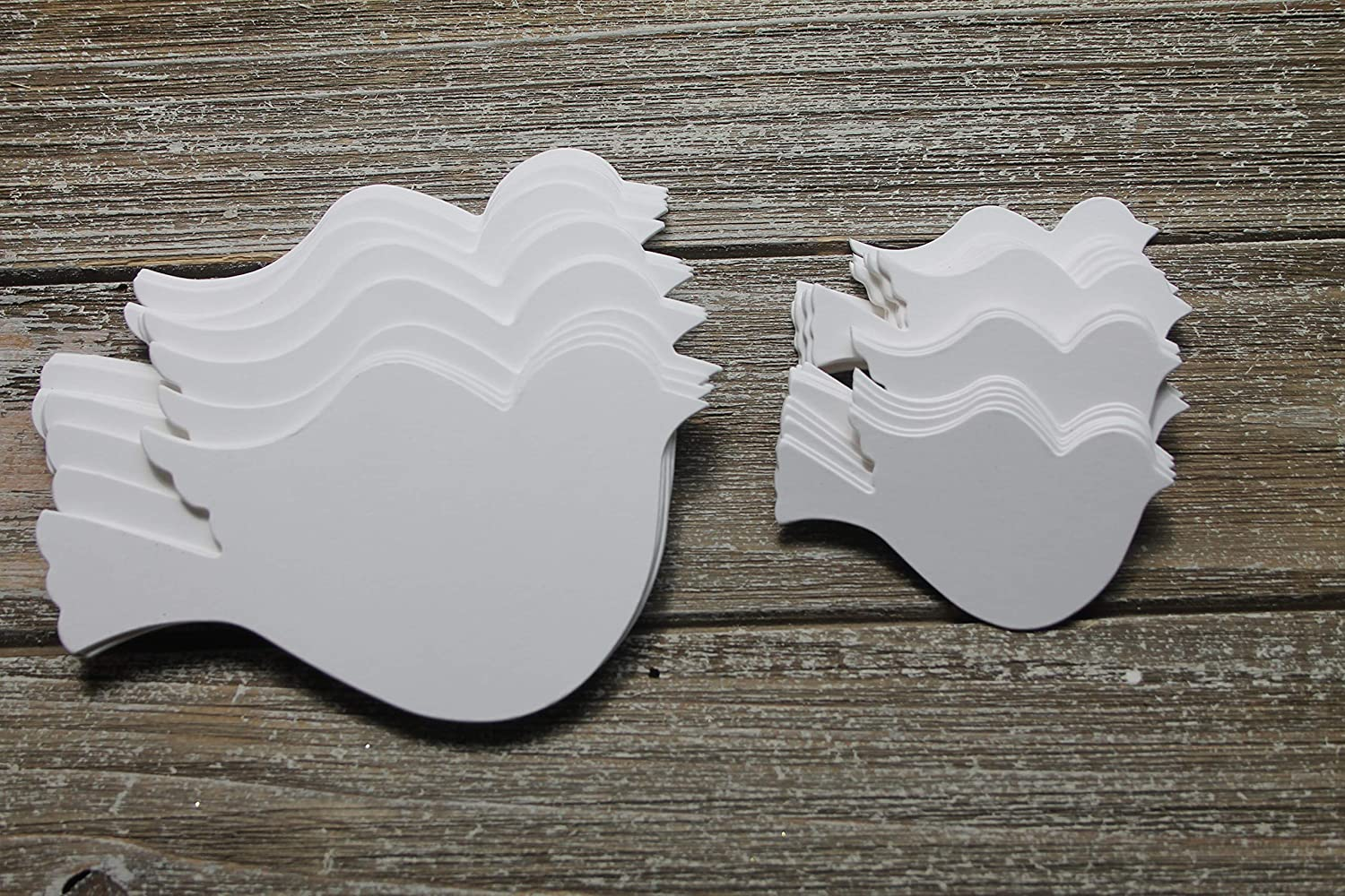 25 large or small birds white or ivory cardstock die cuts for weddings & more