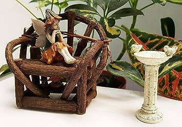 Banco de jardín de hadas, diseño de hada, hada jardín pájaro baño, y