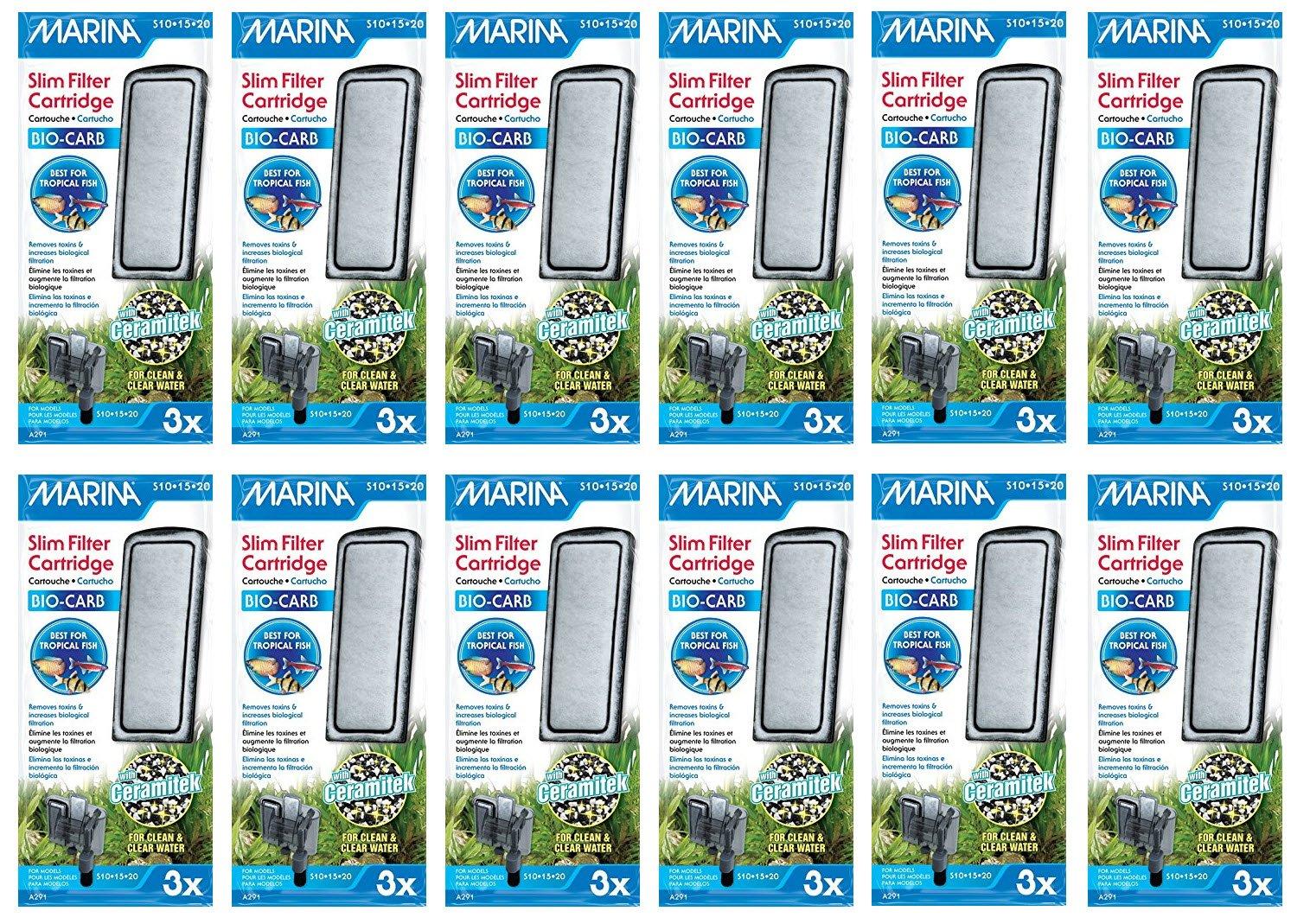 Marina Slim Filter Carbon Plus Ceramic Cartridge, 36-count by Marina
