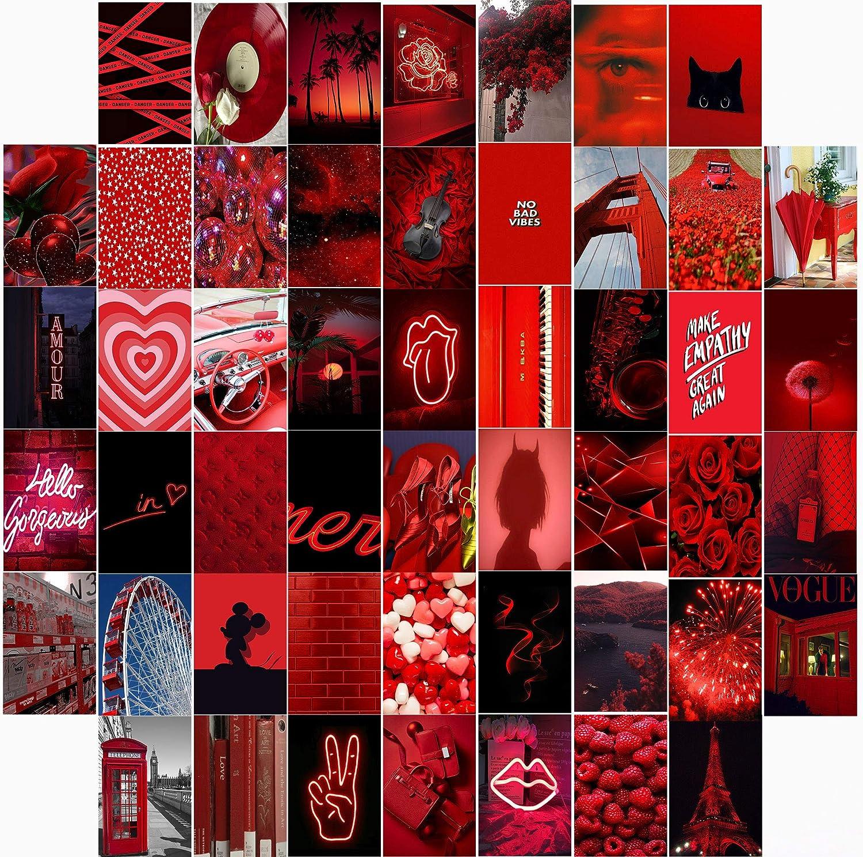50PCS Aesthetic Wall Collage Kit, 50 Set 4x6 inch, Red Black VSCO Girls Bedroom Decor Photo Collection, Teens Girls Dorm Decor,VSCO Posters
