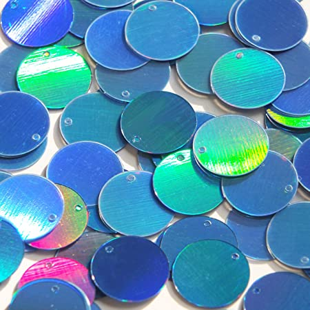 Made in USA Round  Flat Sequin 60mm Teal Lazersheen Rainbow Reflective Metallic Couture paillettes