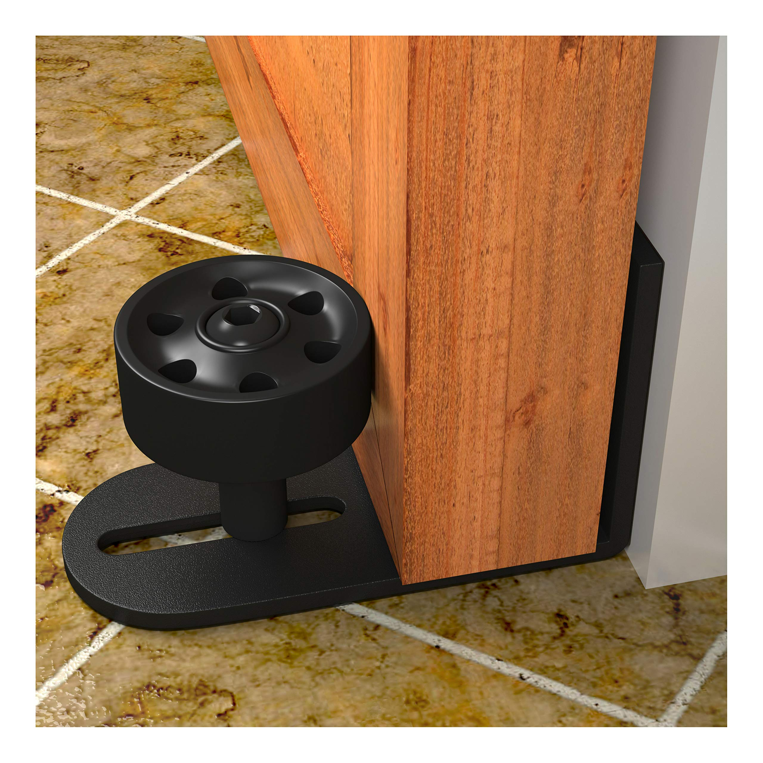Barn Door Floor Guides with''Ball Bearings'' | Adjustable Stay Roller Bottom Sliding Doors | Wall Mounted Bracket Flat on Floor | All Black Hardware Kit Matches Pulls Locks Handle Tracks | Promo Sale!