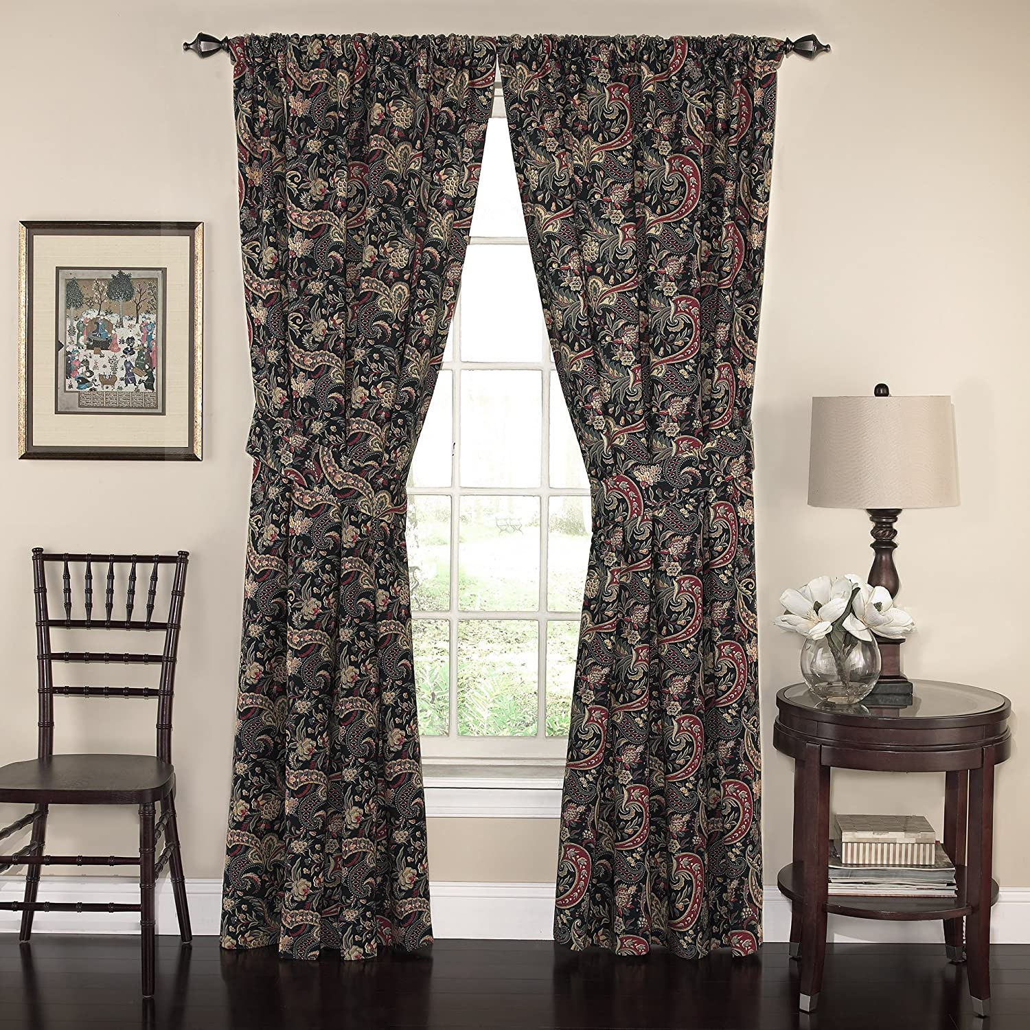 """WAVERLY Curtains for Bedroom - Rhapsody 100"""" x 84"""" Decorative Double Panel Rod Pocket Window Treatment Privacy Curtain Pair for Living Room, Jewel"""