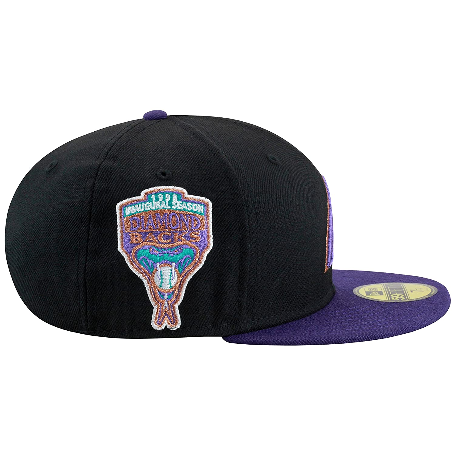 New Era Arizona Diamondbacks Fitted Hat Cap BLACK  Purple  1998 Inaugural  Season Christmas Supplies 4edd568ca44