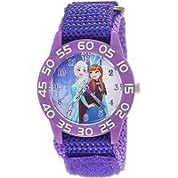 DISNEY Girls Frozen Analog-Quartz Watch with Nylon Strap, Purple, 16 (Model: WDS000319)