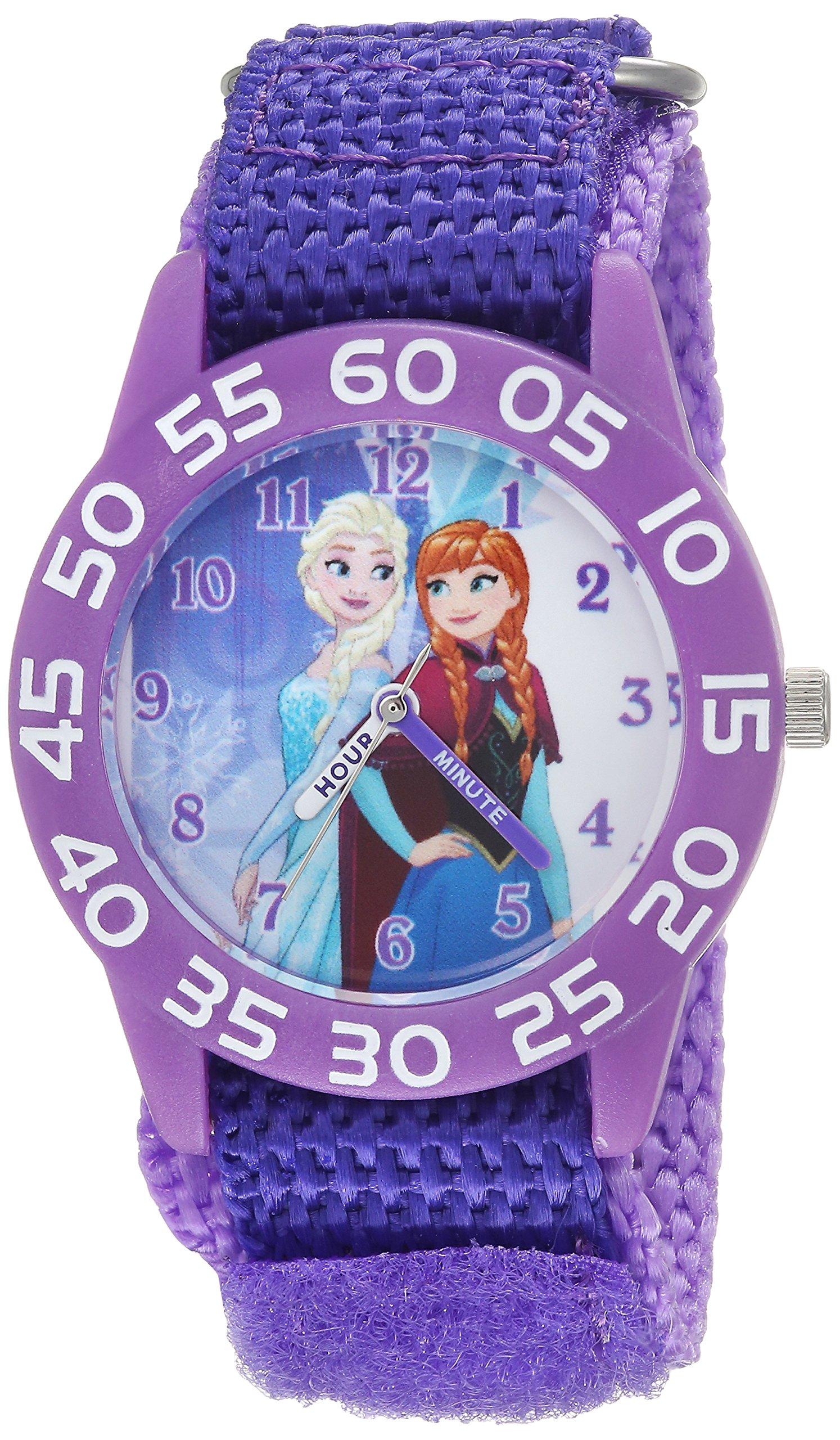 DISNEY Girls Frozen Analog-Quartz Watch with Nylon Strap, Purple, 16 (Model: WDS000319) by Disney