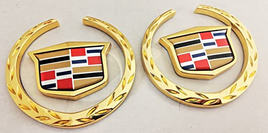 24K GOLD PLATED!! 2! Cadillac DTS Wreath /& Crest!