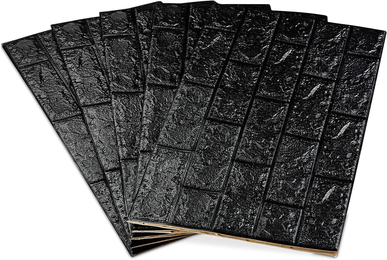 relaxdays Paneles Pared Autoadhesivos Espuma de Polietileno Imitaci/ón Ladrillo 3D 78x70cm Gris Pack 20 Unidades 78x70 cm