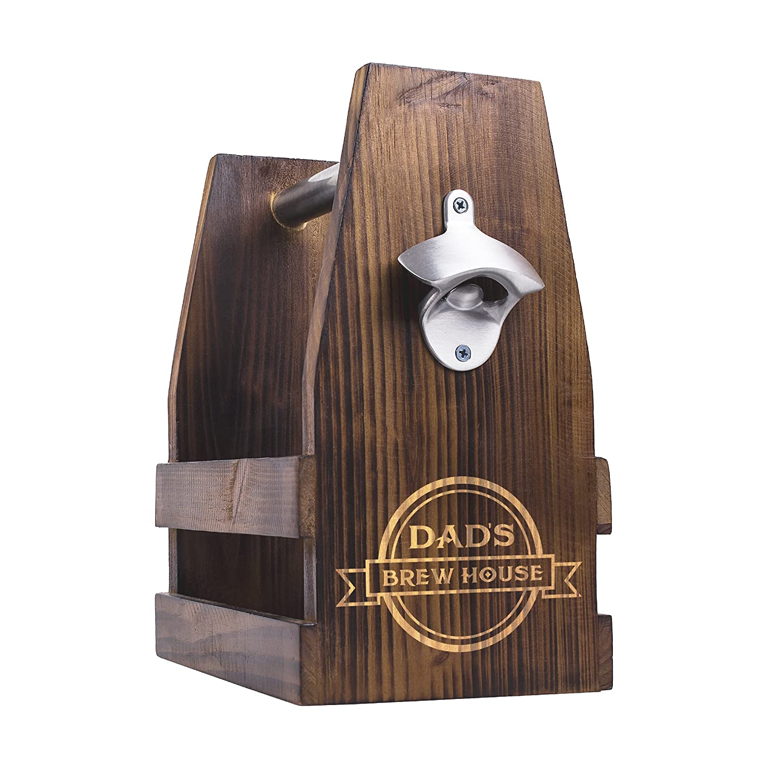 Cathy's Concepts Dad's Brew House Rustic Craft Beer Carrier with Bottle Opener, Brown Cathy's Concepts FD16-2297