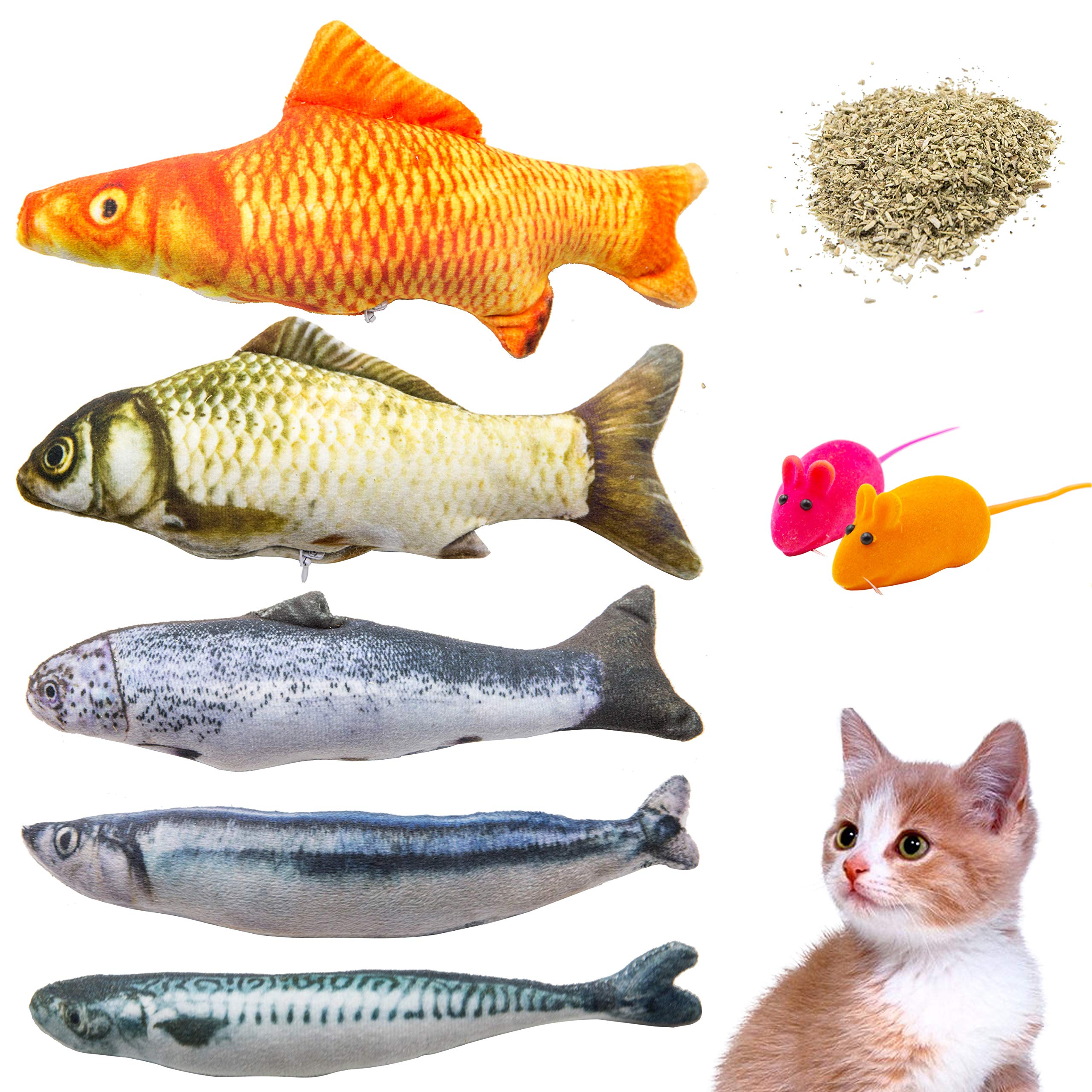 Youngever 7 Cat Toys Assortment 5 Refillable Catnip Fish Cat Toys 2 Free Squeaky Mouse Cat Toys, Free Extra Catnip Refill Cat, Puppy, Kitty, Kitten, Ferret, Rabbit