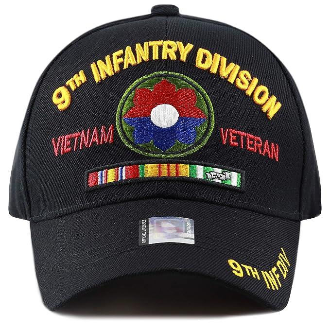 92278aa91ce THE HAT DEPOT Official Licensed U.S. Military Vietnam Veteran Ribbon Cap  (Black-9th Infantry